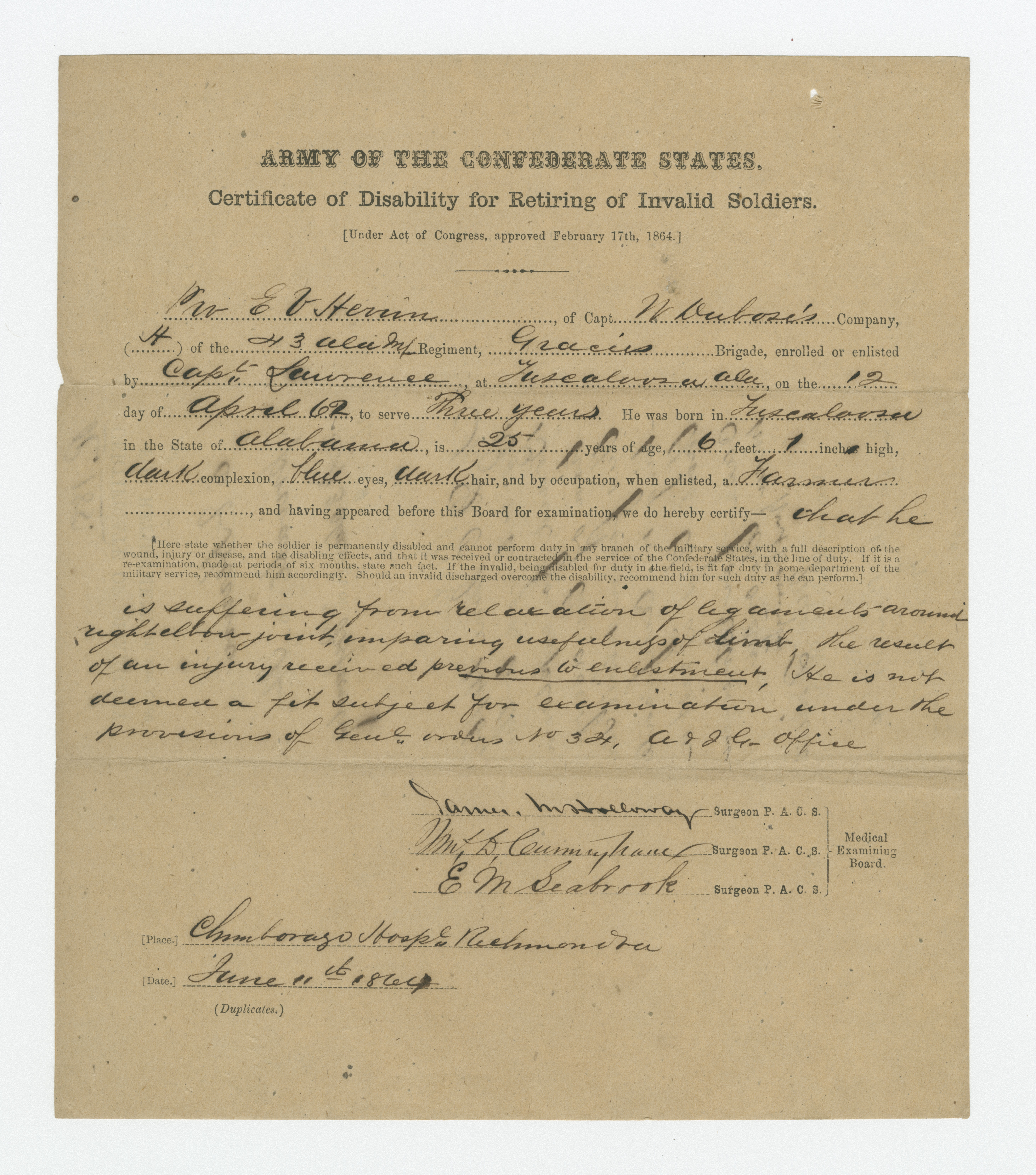 Certificate Of Disability For Retiring Soldiers The Wm Digital